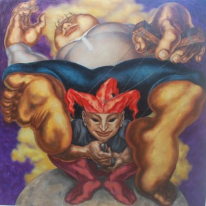 Vincent Padilla, Renegade Buffoon, oil on canvas, 122x122cm, 2009