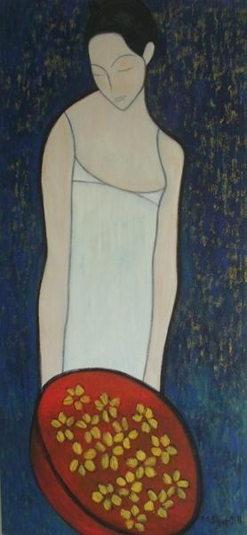 """Manjeet Shergill, Flower Seller, 60""""x28"""", 2009"""