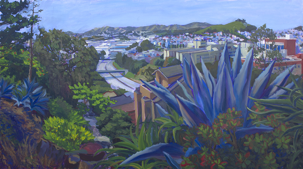 "Claire au, Agave Overlooking Highway, oil on canvas, 25""x45"", 2016"