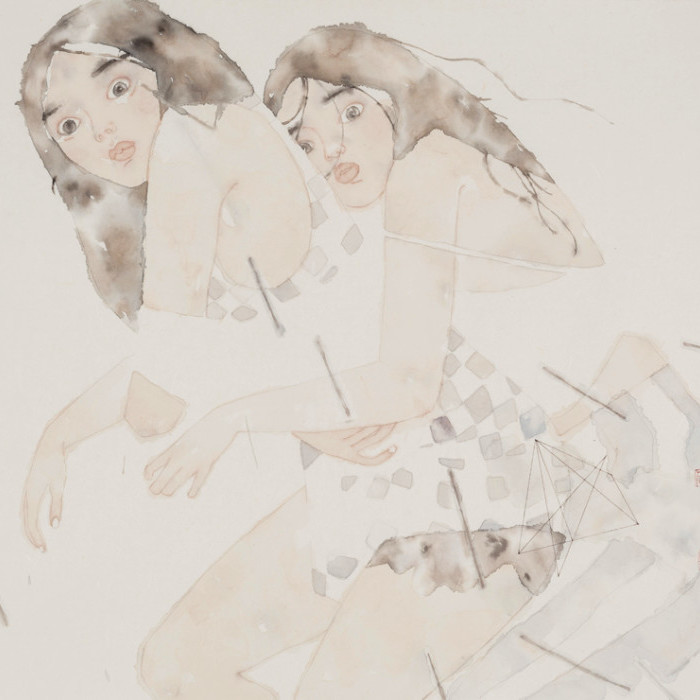 "Xiaofei Yue, Fly Me to the Moon, Chinese paint on rice paper, 24""x29"", 2016 [SOLD]"